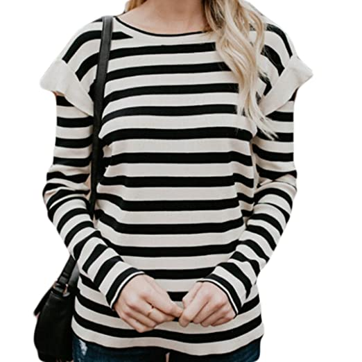 70eb21ccbad USGreatgorgeous Women s Black and White Striped Ruffles Casual Long Sleeve  T Shirt Blouse Tops (S