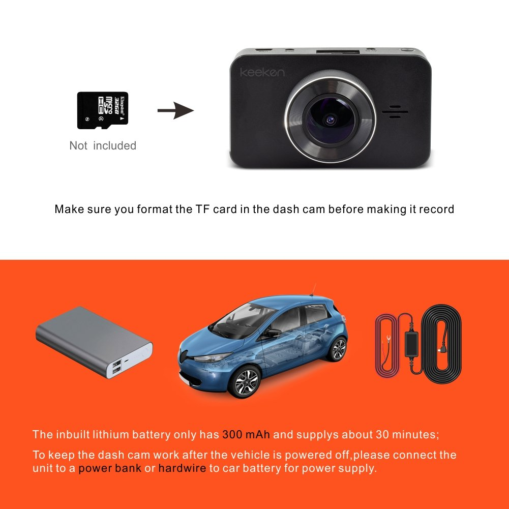 Car Dash cam Recorder,Full HD 1080p,Parking Mode and Wide 156 Degree Angle Large 3 inch LCD,WDR Function Keeken G229