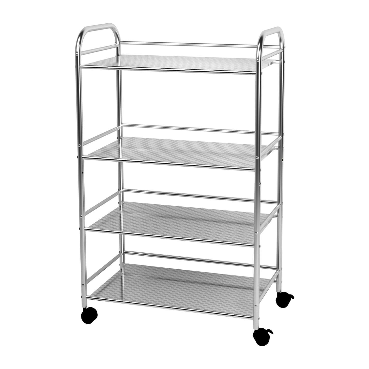 YKEASE 4-Shelf Kitchen Shelving Units Stainless Steel Durable Microwave Bakers Rack Bathroom Garage Storage Shelving on Wheels Size 23.6x13.8x39.4''(LxWxH)