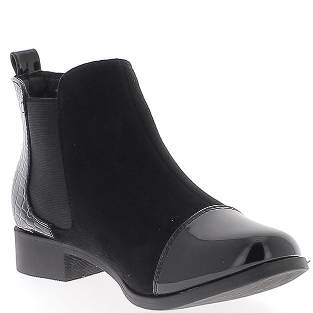 cb4191bdf Botas Negras Bajas en 3cm Ante y Croco Ven talón  Amazon.es  Zapatos y  complementos