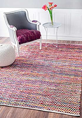 nuLOOM 200-508 Hand Woven Candy Striped Chevron Area Rug