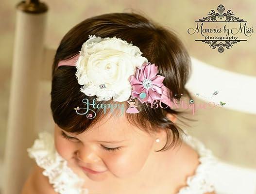 Baby Girl Ivory Rose Satin Headband, Cake smash headband Headband, 1st Birthday