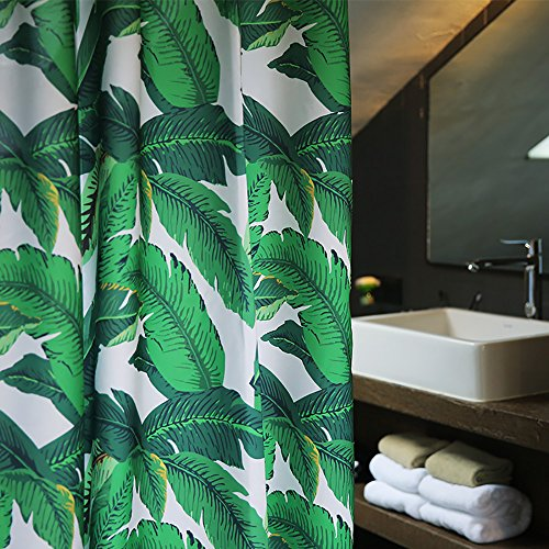 Tropical Plants Banana Leaves Green Fabric Shower Curtain Waterproof and Mildew Resistant,Washable 72 x 72 - Plant Leaves Green