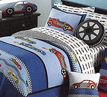 Amazon.com: LELVA Cars Boys Quilt Bedding,twin Size Kids Summer ... : boys quilt - Adamdwight.com