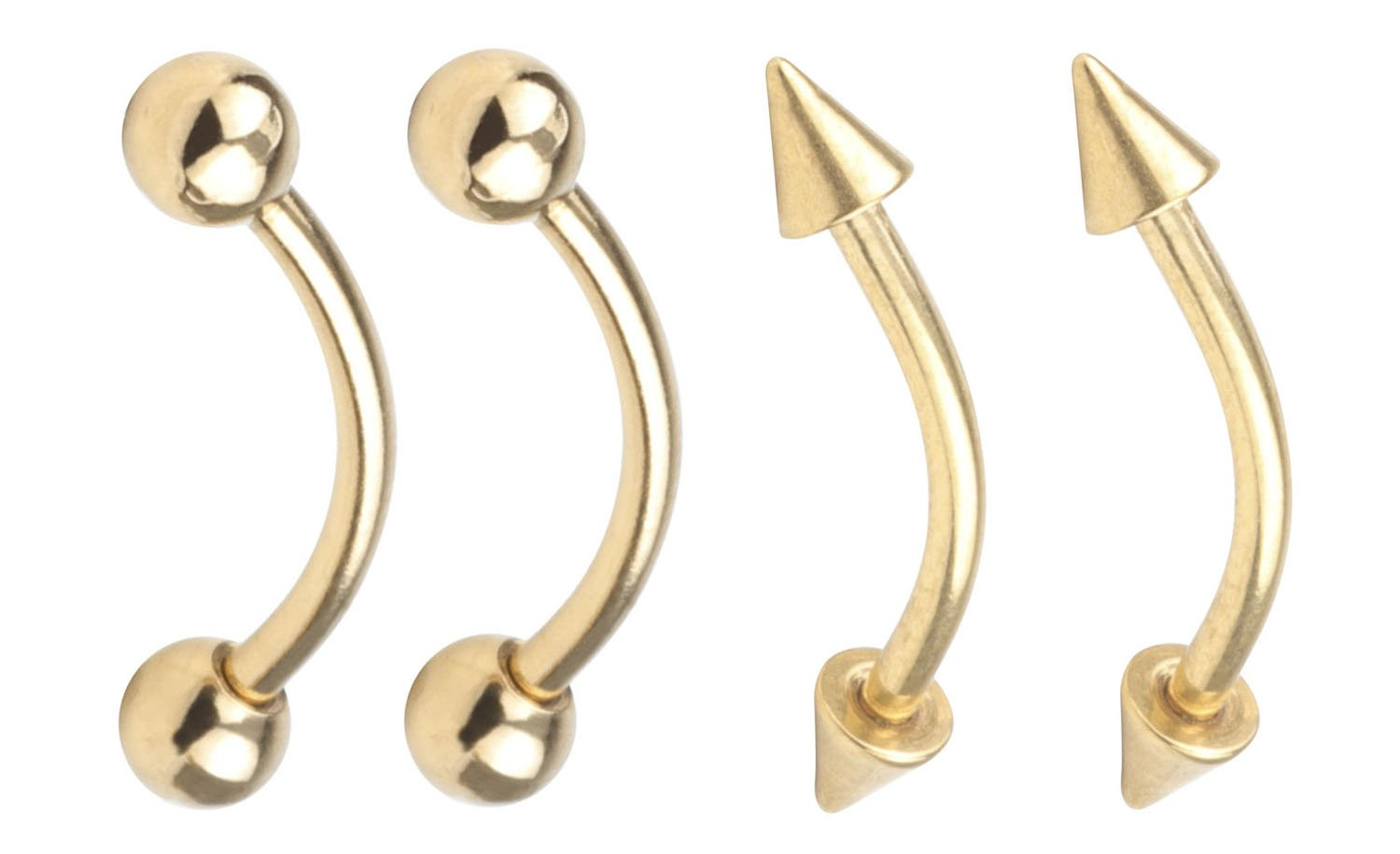 2 Pair Gold 16G 10mm Surgical Steel Spike & Ball Eyebrow Ear Navel Belly Lip Ring Body Piercing Jewelry A+ CM
