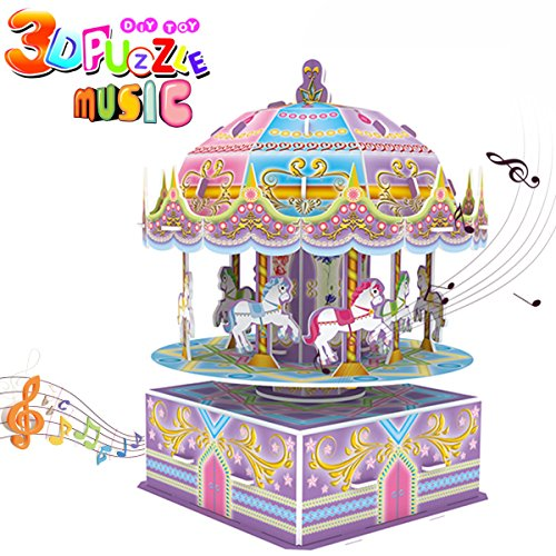 3D Carousel Puzzle for Kids,Whirligig Jigsaw Music Box DIY Building Model Early Learning Educational Toys Brain Teasers Girls Toys Teens Birthday Gift-29 (Level One 100 Floors Halloween)
