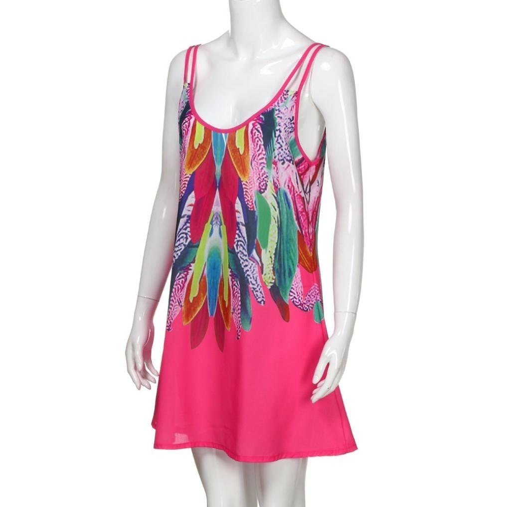 Sumen Womens Summer Dress Boho Chiffon Sleeveless Cocktail Party Beach Dress M, Multicolor