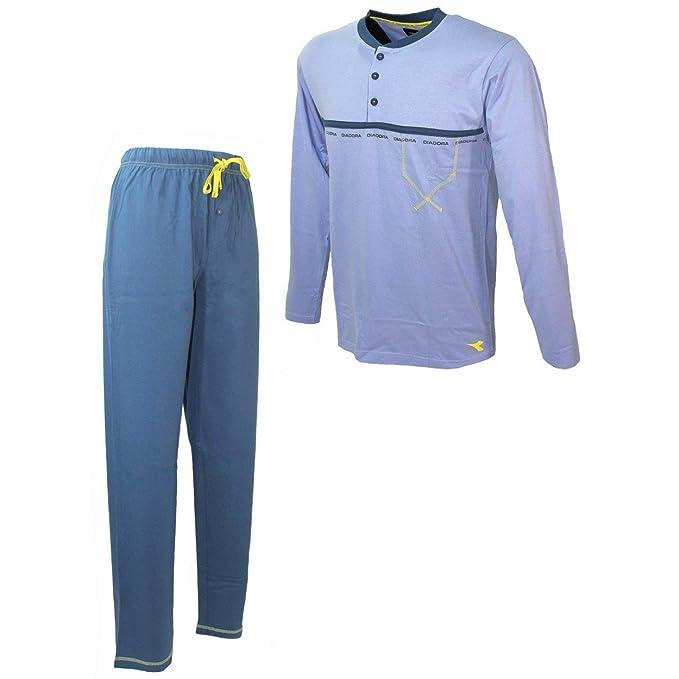 Pijama Hombre Manga Larga Diadora M/48-L/50-xl/52 puro algodón Lavanda 60222 Multicolor multicolor: Amazon.es: Ropa y accesorios