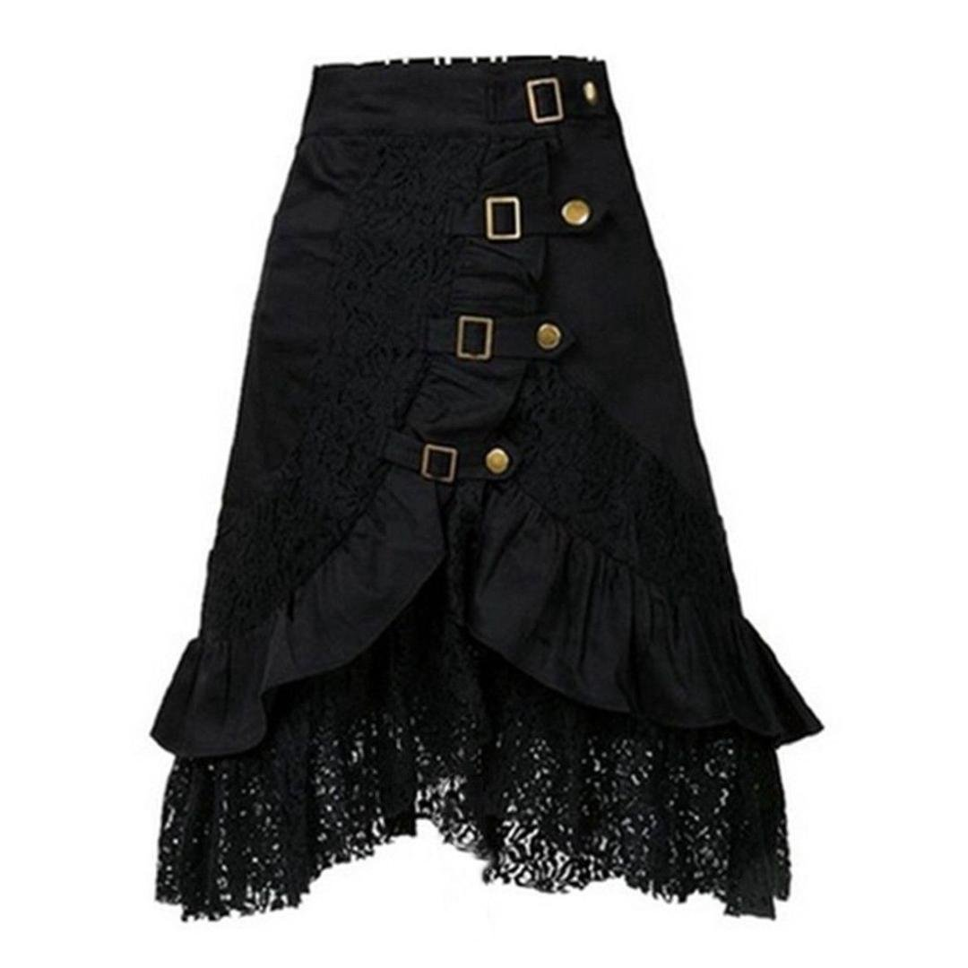 Damen Steampunk Kleidung Rock VENMO Party Club Wear Gothic Retro schwarzer Spitzenrock Röcke Punk Irregular Kleid Steampunk Cocktail dress Chiffon Spitze Party Rock Cosplay ️Cocktail