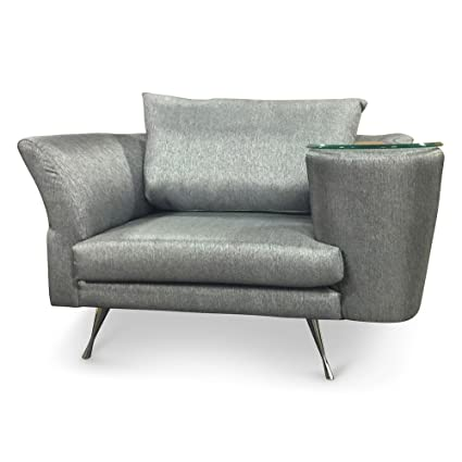 Amazon.com: Zuri Furniture Cafe Unique Chair With Right Side Table   Grey:  Kitchen U0026 Dining