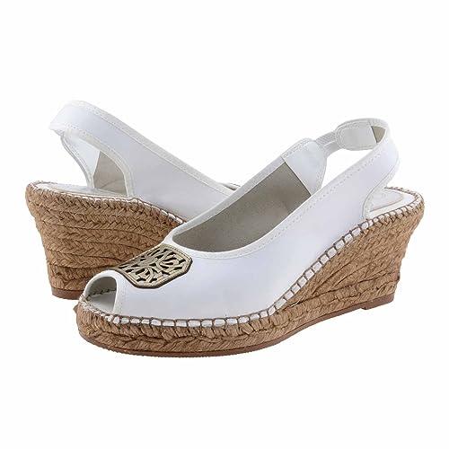 Alpargatas piel detalle bronce Talla: 36 Color: BLANCO: Amazon.es: Zapatos y complementos