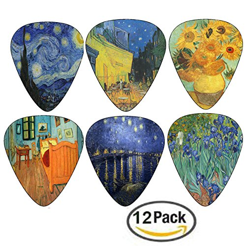 Vincent Van Gogh Guitar Picks - Celluloid Medium 12 Pack - S