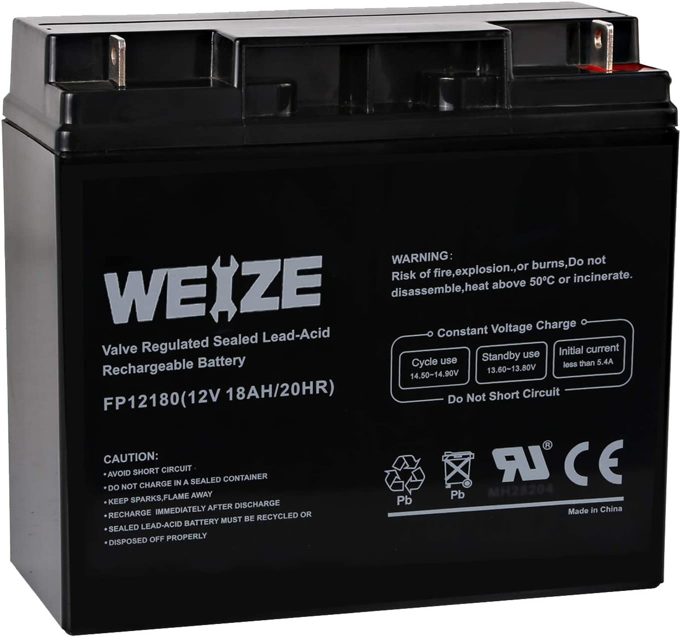 Weize 12V 18AH Battery Sealed Lead Acid Rechargeable SLA AGM Batteries Replaces UB12180 FM12180 6fm18, General Use