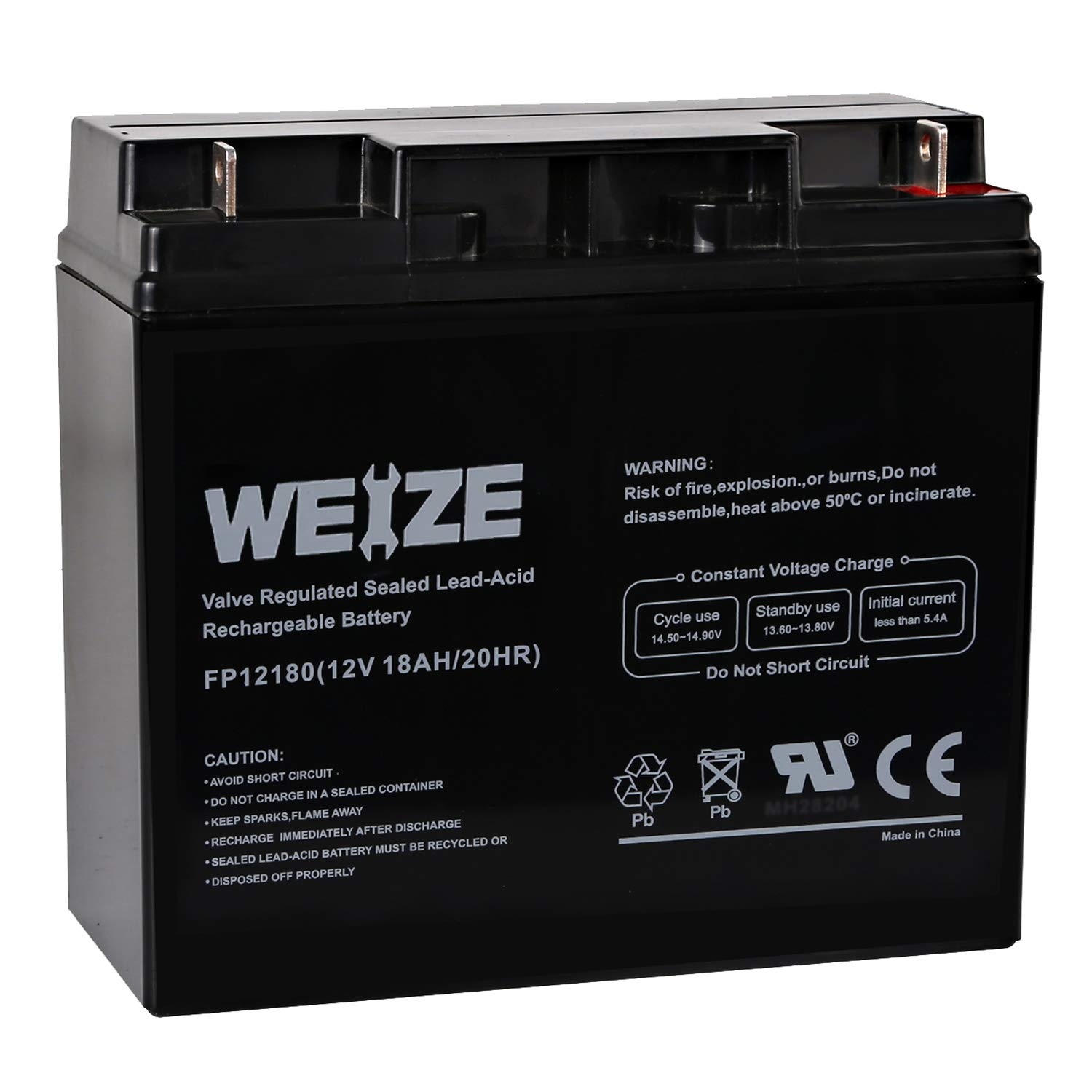 Weize 12V 18AH Battery Sealed Lead Acid Rechargeable SLA AGM Batteries Replaces UB12180 FM12180 6fm18, General Use by WEIZE