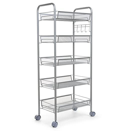 Newsky 5 Tier Heavy Duty Kitchen Cart With Metal Mesh Baskets And Casters