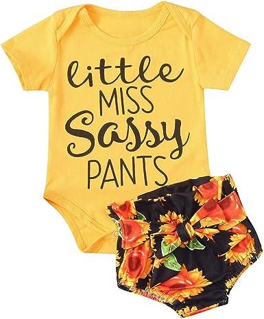 Ropa Bebe Niño Verano Fossen - Conjuntos de Body de Mameluco con Estampado de Letras para Bebés Niñas Pequeñas + Pantalones Cortos de Girasol