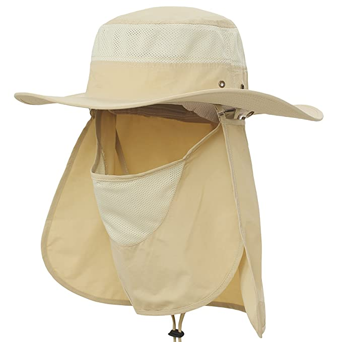 Image Unavailable. Image not available for. Color  Ksenia Outdoor UV  Protection Sun Hat Wide Brim Fishing Hiking Cap with Neck Face Flap 628f093a2264