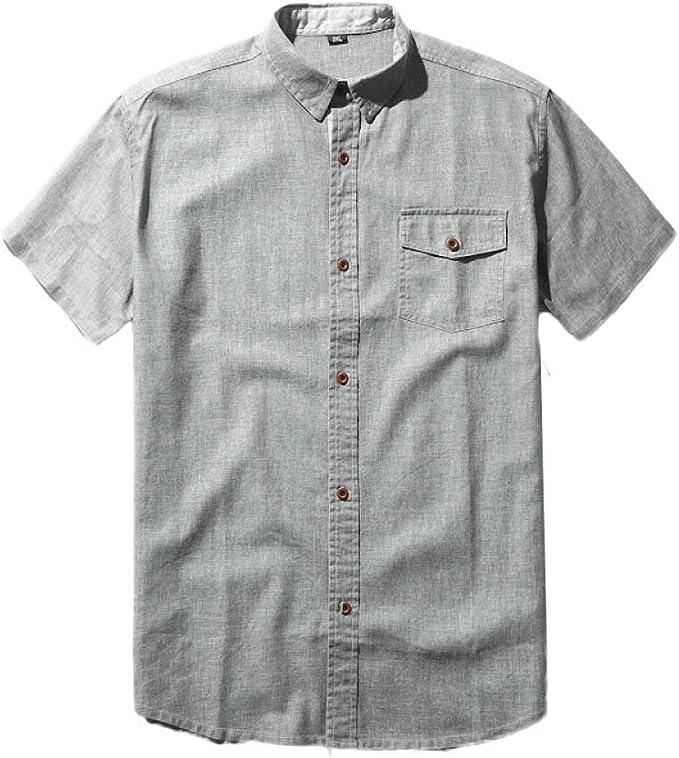 GHGJU Camisa De Vestir para Hombres Muy Cómoda EN Verano Camisa De Manga Corta China Vintage Transpirable Usable: Amazon.es: Ropa y accesorios