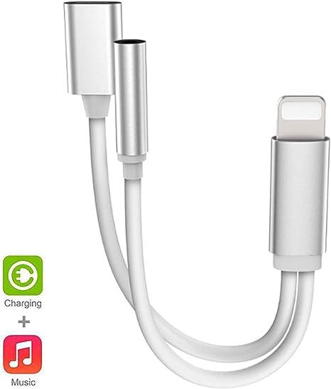 2 en 1 Audio Auriculares Y Splitter Adaptador De Cargador Para Apple iPhone 7 8 X