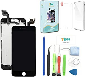 Screen Replacement for iPhone 6 Plus (5.5') - LCD Display Touch Digitizer Frame Assembly Set with Proximity Sensor, Front Camera, Earpiece, Free Cover, Tempered Glass and Repair Tools (Black)