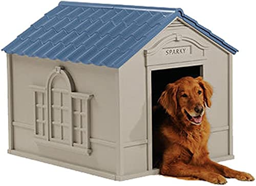 Deluxe Dog House Furniture Ventilated, Sturdy Plastic, Taupe Blue