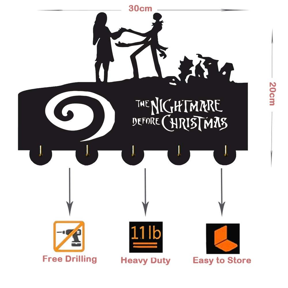 The Nightmare Before Christmas Over The Door Organizer Rack Coats Caps Holder con 5 Ganchos Etiqueta Adhesiva Fuerte Ganchos de Madera Maciza