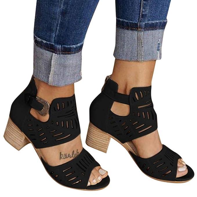 Amazon.com: Sandalias para mujer con puntera abierta ...