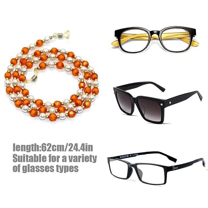 b63e725f5f AOLVO Cadena de Gafas de Lectura para Gafas de Sol con Cordones para  Sujetar Las Gafas ...