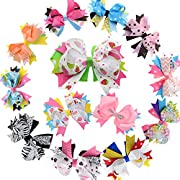 5 Inch Stacked Hair Bows For Teen Adult Girls Boutique Hair Bow Clip For Pigtail