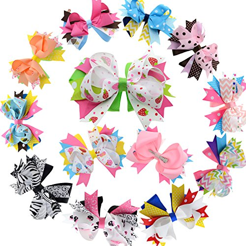 Price comparison product image 5 Inch Stacked Hair Bows For Teen Adult Girls Boutique Hair Bow Clip For Pigtail
