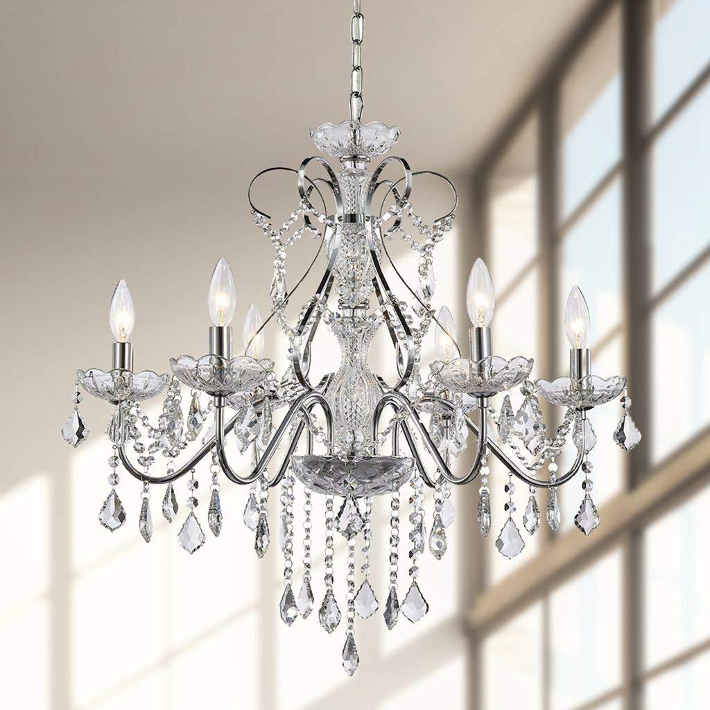 Saint Mossi Modern K9 Crystal Raindrop Chandelier Lighting Flush Mount LED Ceiling Light Fixture Pendant Chandelier for Livingroom 6 E12 Bulbs Required H 23 in x Diameter 24 in
