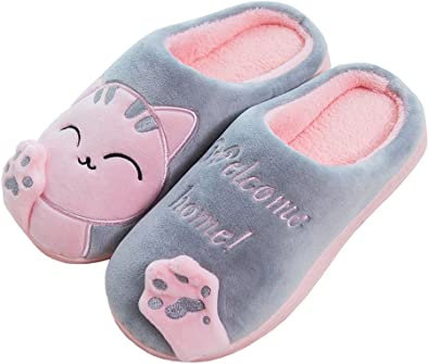 Women Slippers Thermal Winter Indoor Cotton House Shoe Cute Puppy Animal Pattern