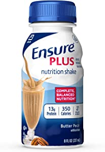 Ensure Plus Nutrition Shake with 13 grams of high-quality protein, Meal Replacement Shakes, Butter Pecan, 8 fl oz, 24 count