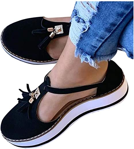 Womens Flat Platform Shoes Tassel Hollow Out Thick Heel Casual Walking Shoes New