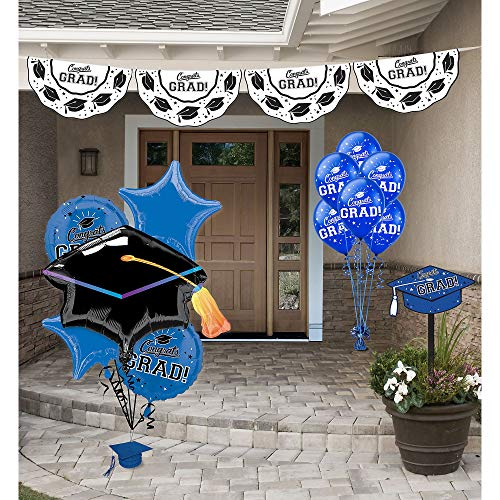 Party City Blue Congrats Grad 2020 Graduation Outdoor Decorating Supplies with Bunting, Yard Sign, Balloons, and More