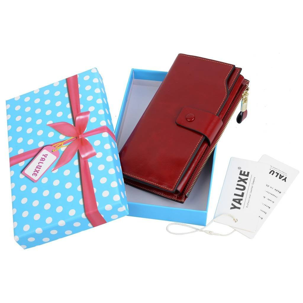 YALUXE Women's Wax Genuine Leather RFID Blocking Clutch Wallet Wallets for Women Red by YALUXE (Image #8)