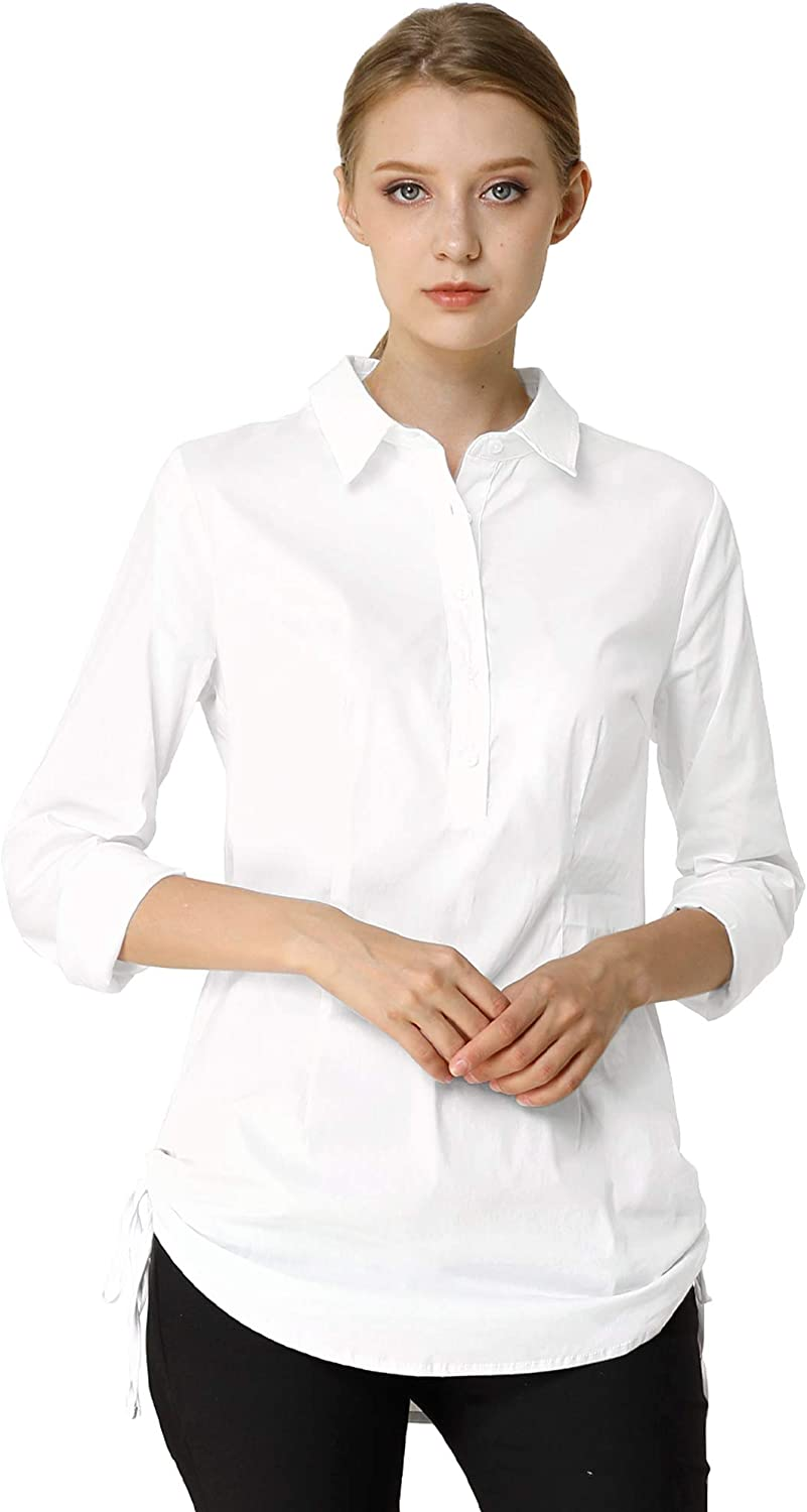 Allegra K Women's Fall Work Long Sleeves Point Collar Stretchy Button Up Cotton Shirts