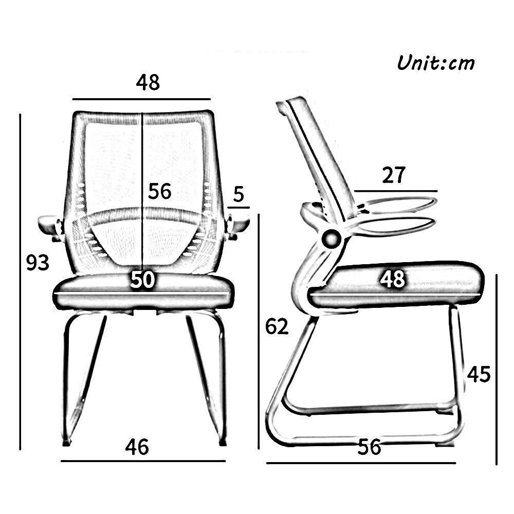 JIEER-C stol nät dator skrivbordsstol, båge fot ergonomisk kontorsstol justerbar armstöd för mötesrum kontor bärande kapacitet: 150 kg, svart BRUN