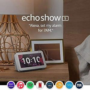 Echo Show 5 – Compact smart display with Alexa - Sandstone Fabric