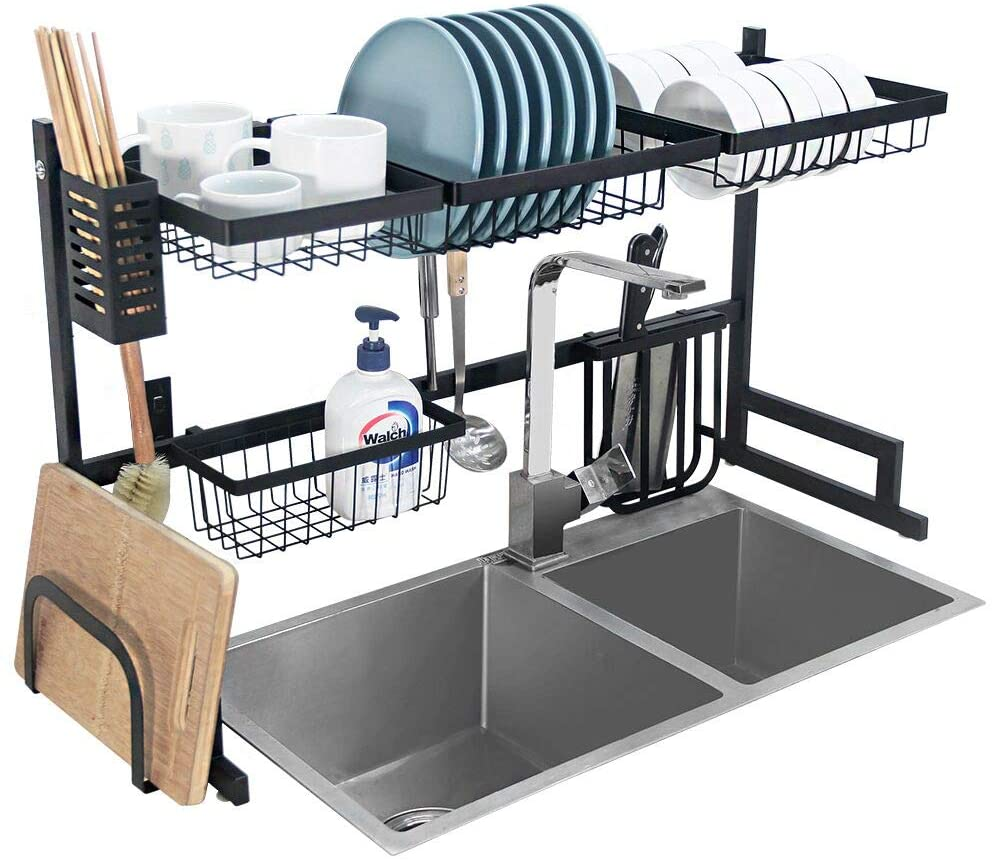 Amazon Com Dish Drying Rack Over Sink Kitchen Supplies Storage Shelf Countertop Space Saver Display Stand Tableware Drainer Organizer Utensils Holder Stainless Steel Black Kitchen Dining