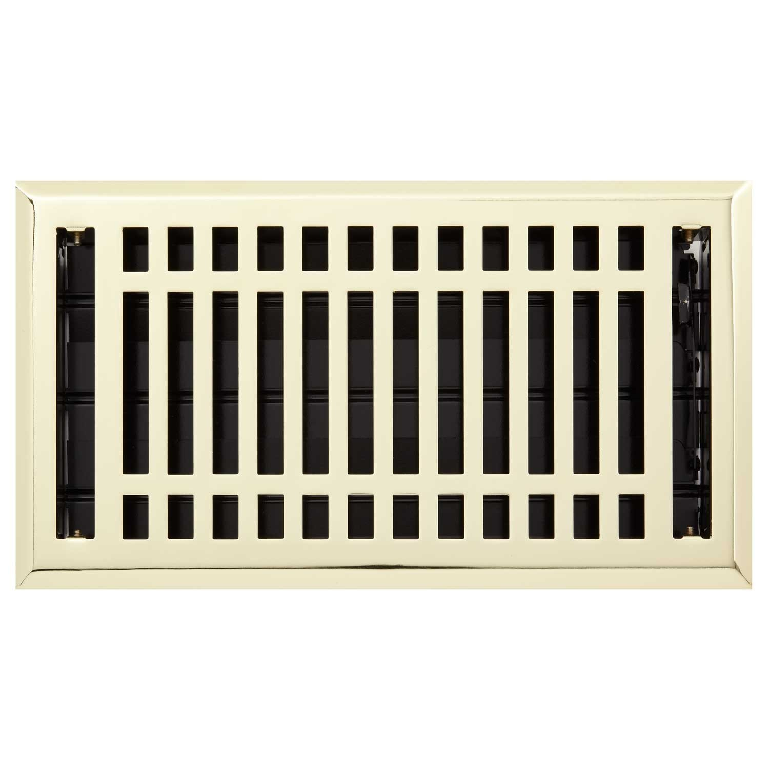 Naiture 4'' X 10'' Steel Louvered Floor Register with Damper or Lever Contemporary Style, Polished Brass Finish