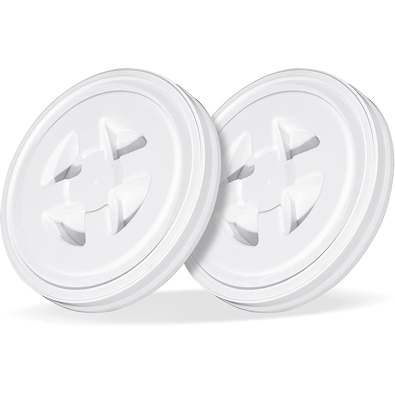 2 Pieces 5 Gallon Screw Cap Plastic Leak-Proof Screw Seal Lids of Chemical Food Coatings Storage Buckets (White)