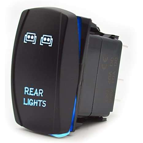 Etopars/™ Car Auto 12V 20A 24V 10A Blue LED Light Lamp Momentary Rocker Toggle Switch 7Pin Winch in out Light