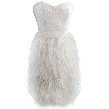 Amazoncom Szmh Womens Champagne Ostrich Feather Short Prom Dress