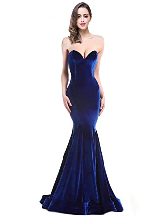 Elinadrs 2018 Velvet Strapless Mermaid Evening Dresses Long Train Formal Party Gowns E154 at Amazon Womens Clothing store: