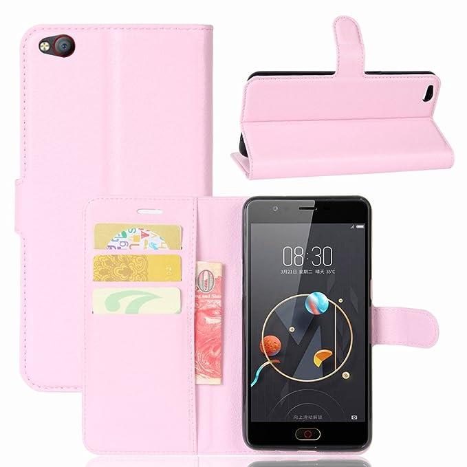 Guran® Funda de Cuero PU Para ZTE Nubia M2 Lite Smartphone Función de Soporte con Ranura para Tarjetas Flip Case Cover Caso-rosa
