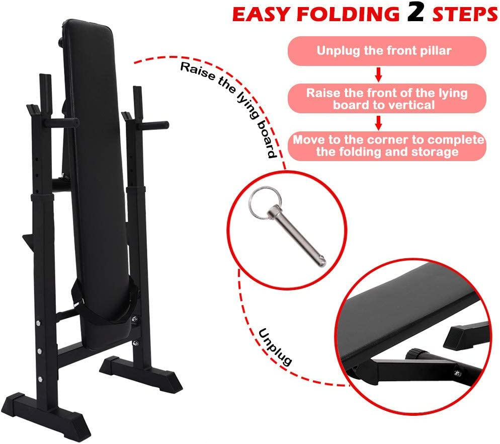 Weight Bench With Barbell Rack Adjustable Barbell Rack Station Folding Flat Weight Lifting Bench Body Workout Exercise Machine for Home Gym