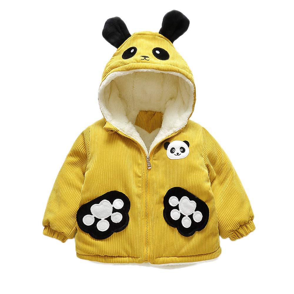 Jchen(TM) Infant Kids Little Girls Boys Cartoon Panda Winter Warm Jacket Hooded Zipper Outerwear Coat for 1-3 Y (Age: 12-18 Months, Yellow)