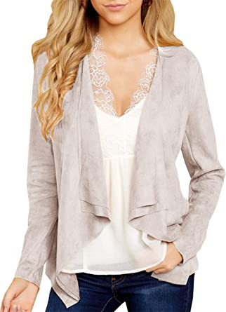 WOMEN LONG SLEEVE SHAWL DRAPED OPEN FRONT CARDIGAN OUTWEAR CARRER OFFICE