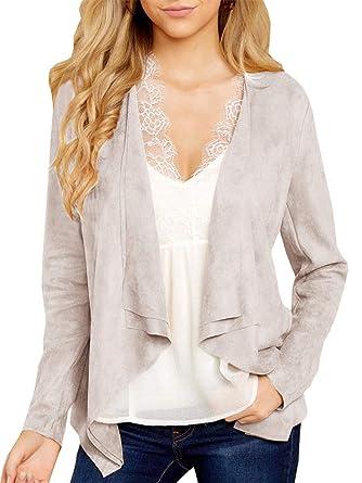 cca7cf67441 Tutorutor Womens Open Front Long Sleeve Faux Suede Jackets Autumn  Lightweight Solid Cardigan